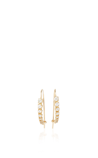 Medium jade trau gold 14k yellow gold luna hoops