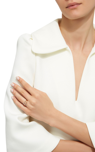 14 K Yellow Gold Signet Oval Ring by JADE TRAU Now Available on Moda Operandi