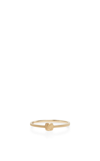 14 K Yellow Gold Typeset Letter Ring by JADE TRAU Now Available on Moda Operandi