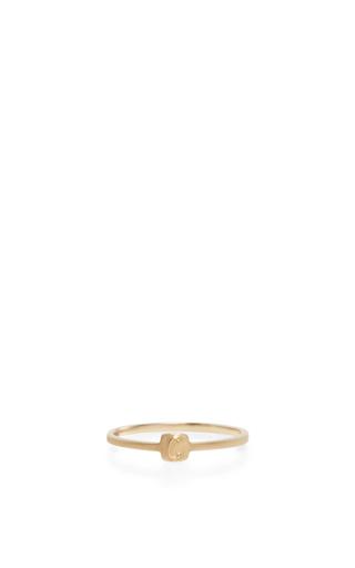 Medium jade trau gold 14k yellow gold typeset letter ring