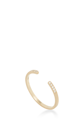 14 K Yellow Gold Typeset Stack Ring by JADE TRAU Now Available on Moda Operandi