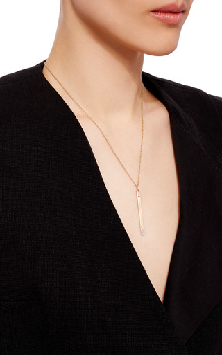14 K Yellow Gold Typeset Necklace by JADE TRAU Now Available on Moda Operandi