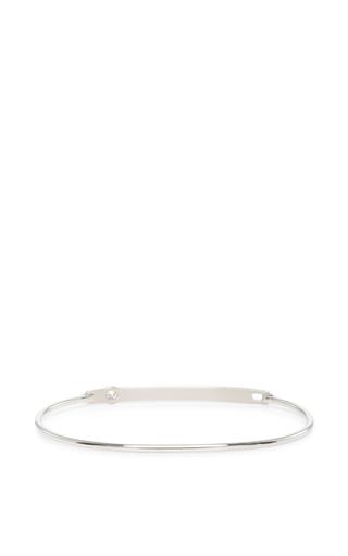 14 K White Gold Typeset Bracelet by JADE TRAU Now Available on Moda Operandi