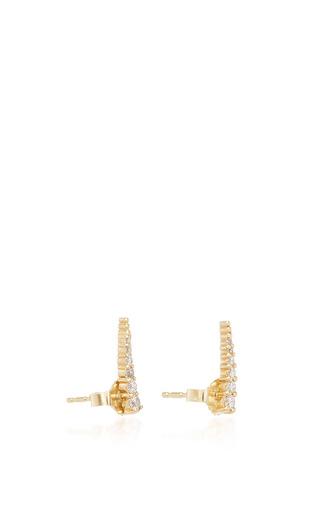 14 K Yellow Gold Mini Luna Studs by JADE TRAU Now Available on Moda Operandi