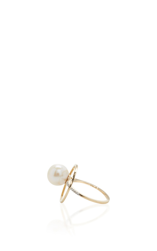 14 K Yellow Gold Pearl Orbit Ring by MATEO Now Available on Moda Operandi