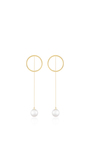 14 K Yellow Gold Pearl Drop Earrings by MATEO Now Available on Moda Operandi