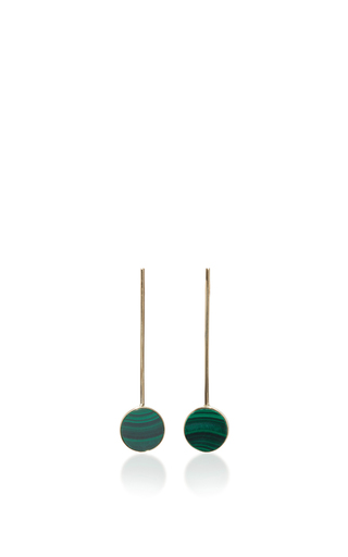 14 K Yellow Gold Malachite Disk Earrings by MATEO Now Available on Moda Operandi