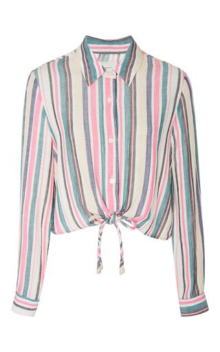 Medium solid striped stripe taylor striped crop shirt