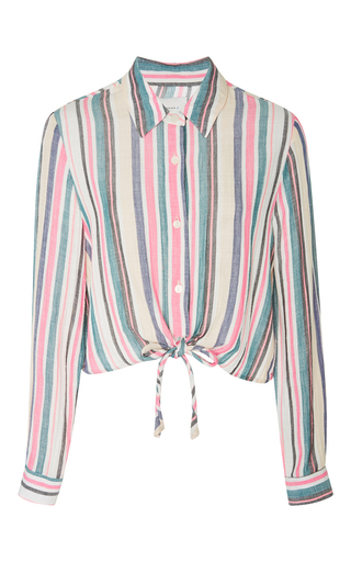 Medium solid striped stripe taylor striped crop shirt