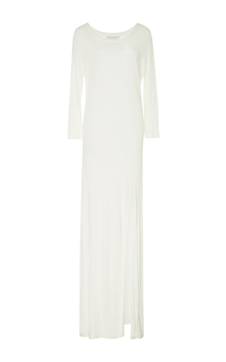 Medium solid striped white long sleeve maxi slit dress