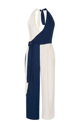Medium solid striped multi camille wrap two tone jumpsuit