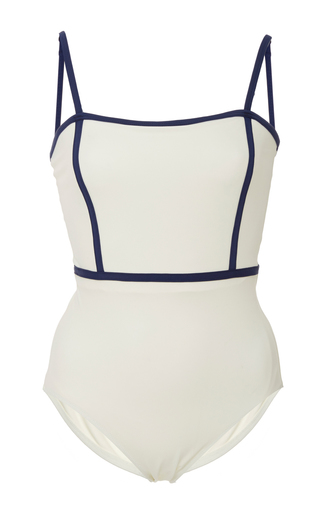 Medium solid striped white lexi square neck one piece