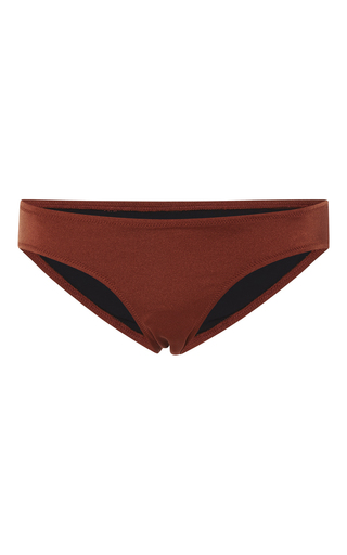 Medium solid striped brown elle bikini bottom
