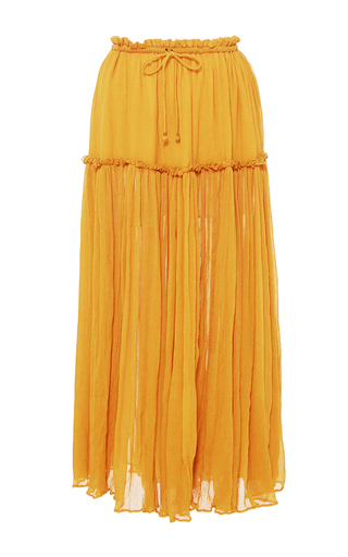 Medium apiece apart yellow dulce accordion midi skirt