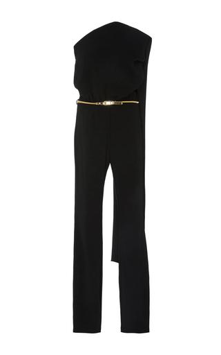 Medium co black asymmetrical cape jumpsuit