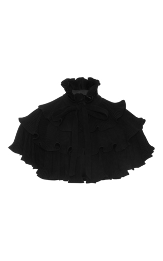Medium co black ruffled wool capelet