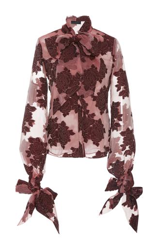 Medium co burgundy velvet embroidered bow shirt