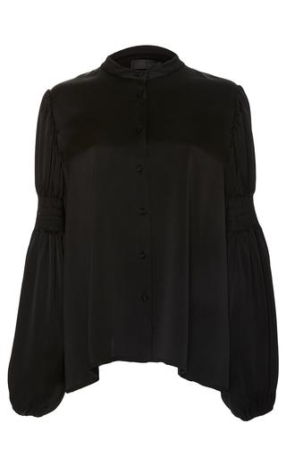 Medium co black balloon sleeve blouse