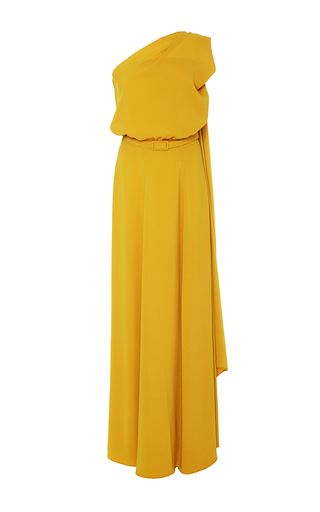 Medium co yellow one shoulder draped dress
