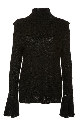 Medium co black shimmer ruffle sweater