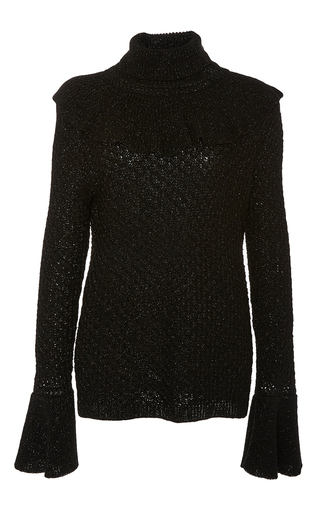 Medium co black shimmer ruffle sweater