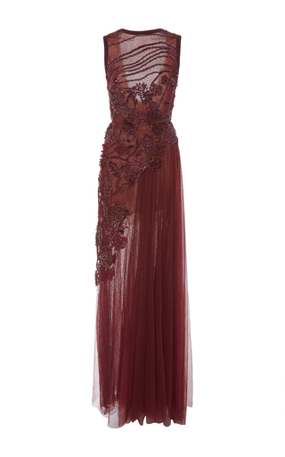Medium elie saab purple sleeveless embroidered long dress