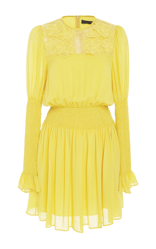 Medium elie saab yellow long sleeve smocked dress