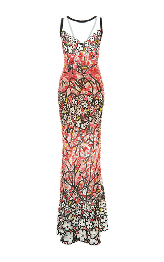 Medium elie saab multi floral embellished column gown