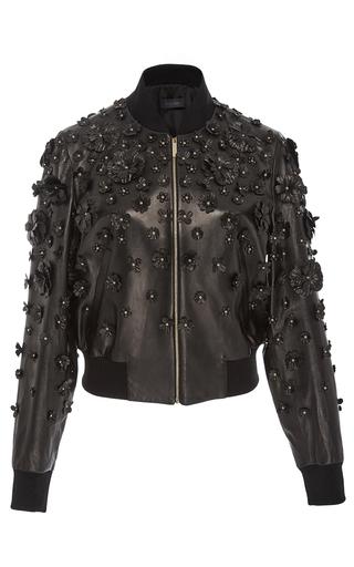 Medium elie saab black floral embellished bomber jacket