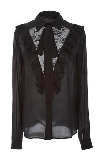 Medium elie saab black long sleeve tie neck blouse