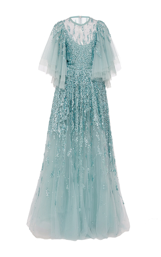 Medium elie saab blue bell sleeves beaded gown