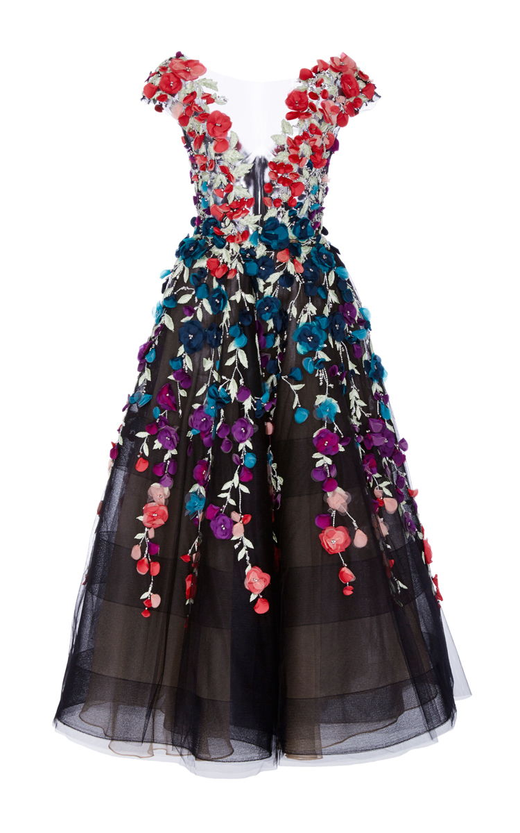 Floral Embroidered Tea Length Gown By Marchesa Moda Operandi