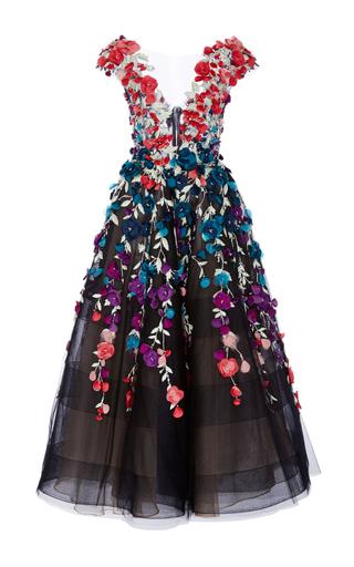 Medium marchesa black floral embroidered tea length gown