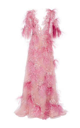 Medium marchesa pink feather embroidered gown