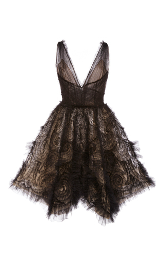 Medium marchesa black hand draped tulle cocktail dress