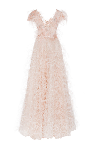 Medium marchesa pink feather embroidered v neck gown