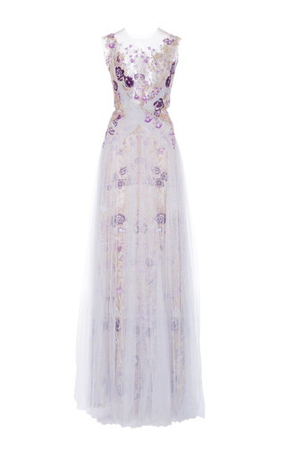 Medium marchesa blue illusion floral embroidered gown