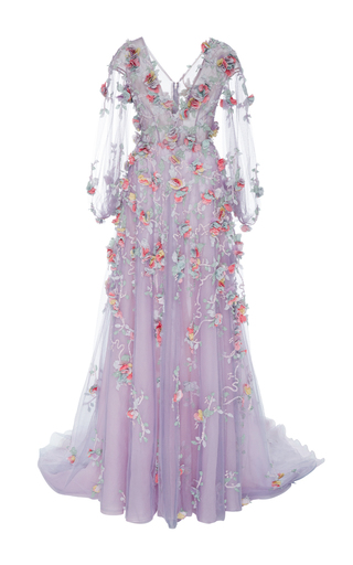 Medium marchesa purple v neck floral embroidered gown