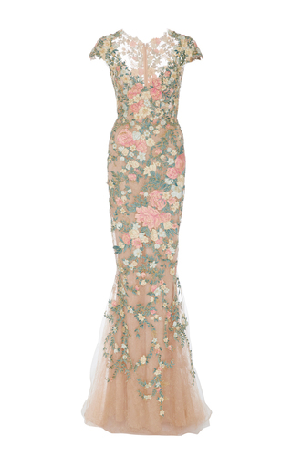 Medium marchesa nude cap sleeve floral embroidered gown