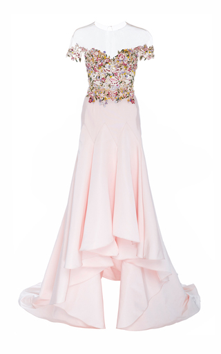 Medium marchesa pink off the shoulder embroidered gown