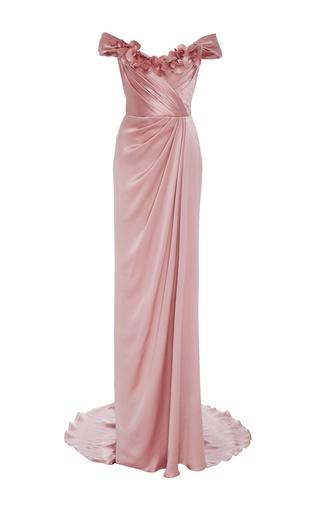 Medium marchesa pink off the shoulder satin gown