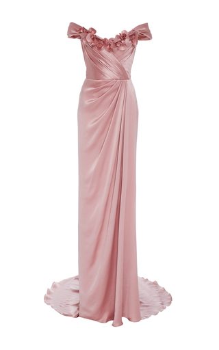 Medium marchesa pink off the shoulder satin gown