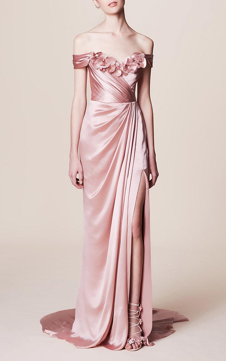 Off the Shoulder Satin Gown by Marchesa   Moda Operandi
