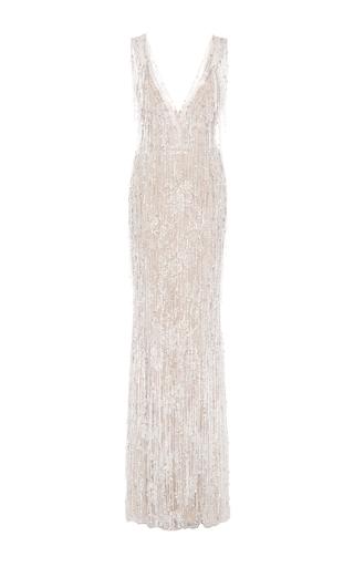 Medium marchesa ivory sleeveless pearl fringe gown