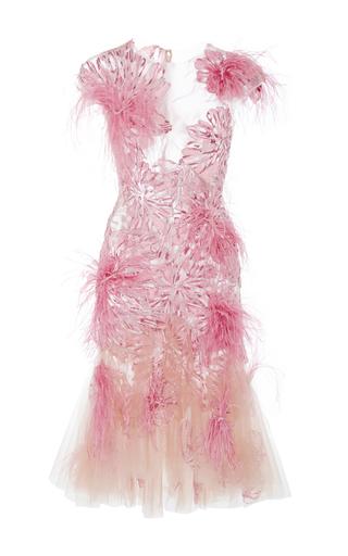 Medium marchesa pink floral feather applique cocktail dress
