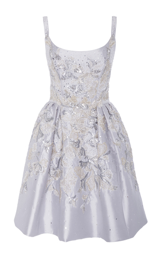 Medium marchesa silver scoop neck floral embroidered tank dress