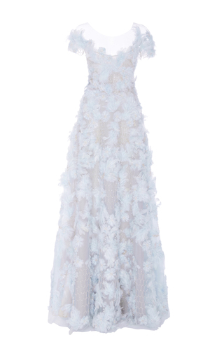 Medium marchesa blue short sleeve feather embroidered gown