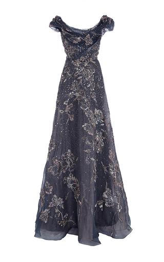 Medium marchesa dark grey off the shoulder embroidered gown 2