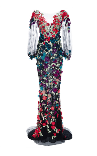 Medium marchesa black bell sleeve floral embroidered gown
