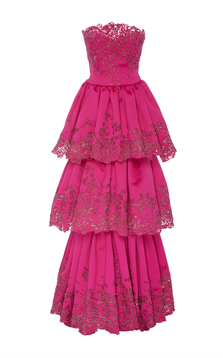 Medium marchesa pink embroidered laser cut tiered gown